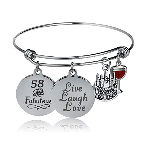 Happy Birthday Bangles, Cake Cheer Live Laugh Love Charms Bangle Bracelets, Gifts For Her (58th Birthday)