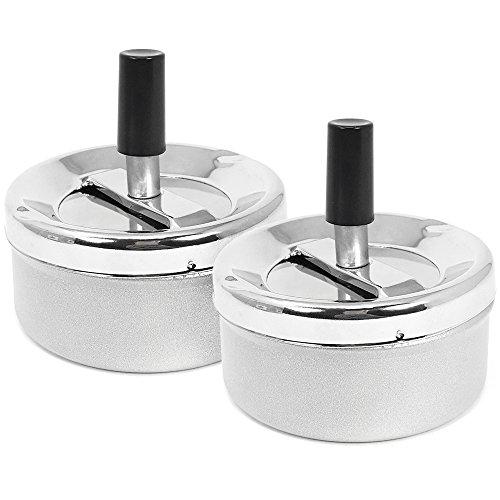 com-four® 2X geschlossener Aschenbecher mit Drehfunktion - Drehaschenbecher aus Metall für den Innen- und Außenbereich - Ø 9,5 cm (02 Stück - Drehfunktion)