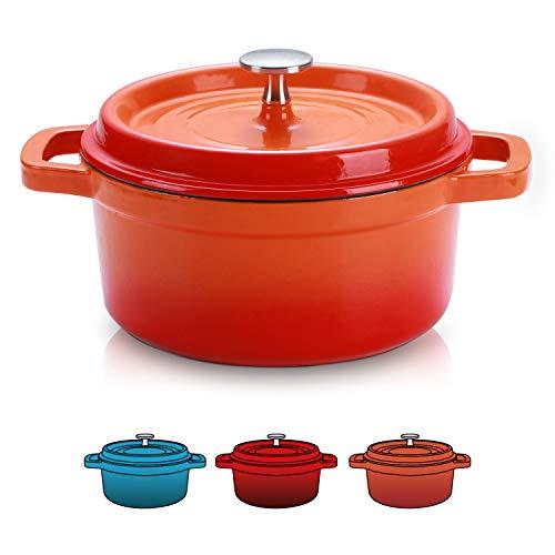 SULIVES Enameled Cast Iron Dutch Oven Bread Baking Pot with Lid,Orange,1.5qt