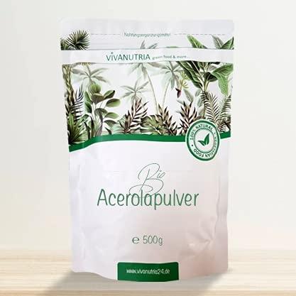 VivaNutria Bio Acerola Pulver 500g I natürliches Vitamin C Pulver als Acerola Frucht-Pulver für Smoothies oder als Müsli-Topping I Acerola Kirsche aus kontrolliert biologischem Anbau I vegan