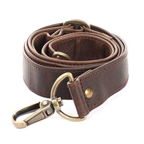 LECONI Trageriemen Leder Schulterriemen breiter Schultergurt für Taschen Umhängegurt längenverstellbar 3,5x150cm dunkelbraun LEC-R3