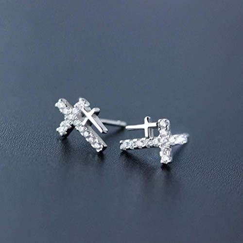 S925 zilveren oorbellen Jongens en Meisjes Fashion Size Cross Oorbellen Koreaanse paar oorsieraden, S925 zilver paar, 925 zilver, EEH A ZILVER