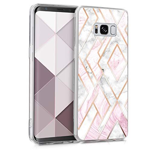 kwmobile Hülle kompatibel mit Samsung Galaxy S8 - Handyhülle Silikon Case - Glory Mix Marmor Rosegold Weiß Altrosa