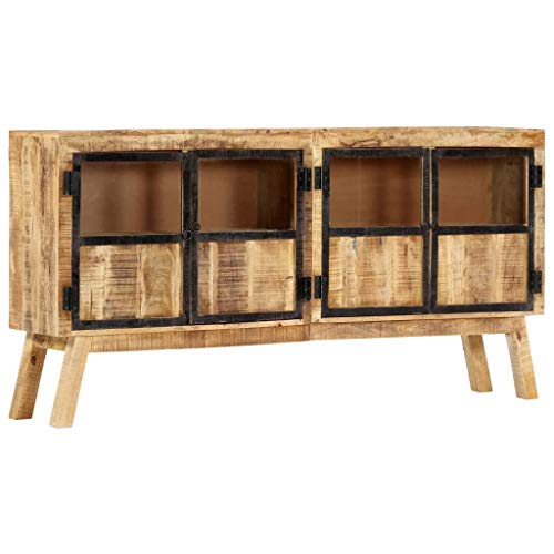 """Sideboard Buffet, Storage Cabinet Cupboard Console Table Sideboard Brown and Black 63""""x11.8""""x31.5"""" Solid Rough Mango Wood"""