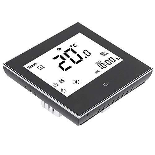 Termostato de Voz con Pantalla LCD, termostato programable, Pantalla táctil AC110‑230V Oficina en el hogar para Calentar la habitación Uso Diario(Black)