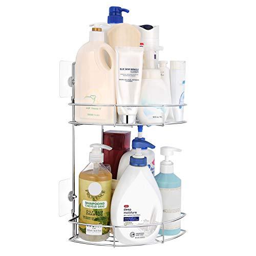 UMI. by Amazon Duschregal mit 2 Ablagen, Duschablage mit/ohne Bohren, Eckregal für Badezimmer, Dusch Organizer stabil