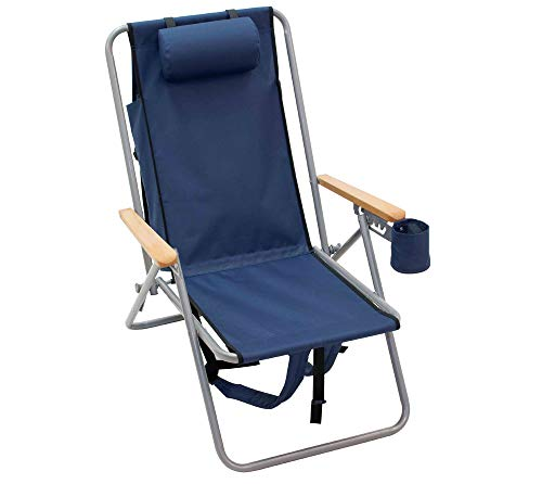 Rio Brands Gartenstuhl Strandstuhl Rucksackstuhl Campingstuhl Anglerstuhl Klappstuhl robust und praktisch mit Getränkehalter und Kissen Navy blau