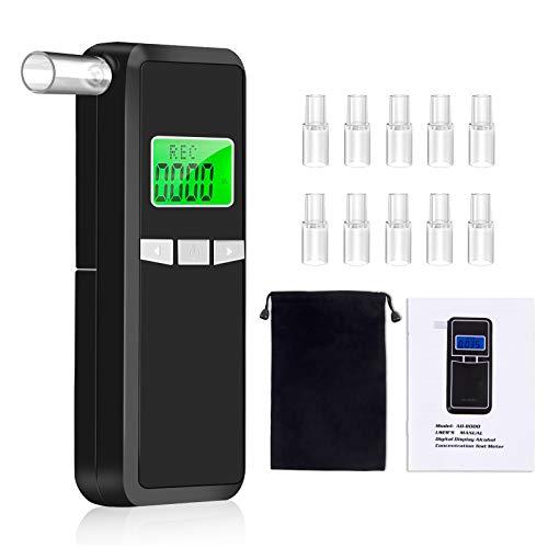 Kriogor Alcoholimetros, Probador de Alcohol,Probador de Alcohol Portátil con Pantalla LCD Sensor de Semiconductores, Profesional Alcoholímetro Digital con 10 Boquillas