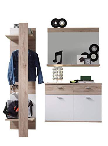 trendteam smart living Garderobe 3tlg.-Set Campus, 165 x 187 x 38 cm in Eche San Remo (Nb.) und Weiß mit viel Stauraum
