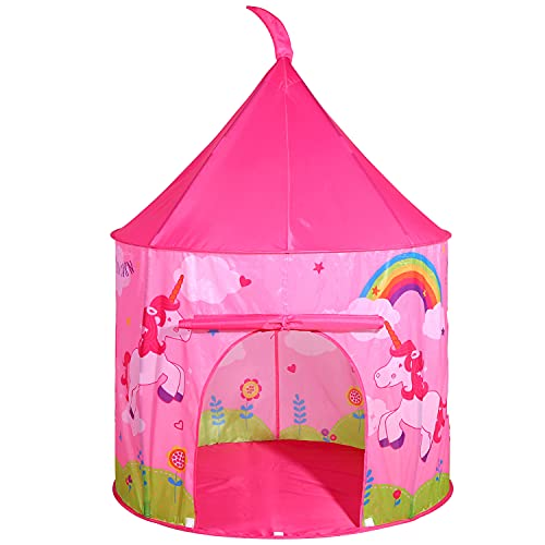 SOKA Princess Unicorn Play Tent Portable Foldable Pink Pop Up Play Teepee Indoor or Outdoor Garden Playhouse Tent Carry Bag for Children Boys Girls Toddler