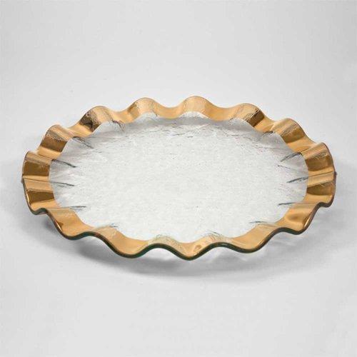 Annieglass 13 Inch Buffet Plate - Ruffle Series (Gold)