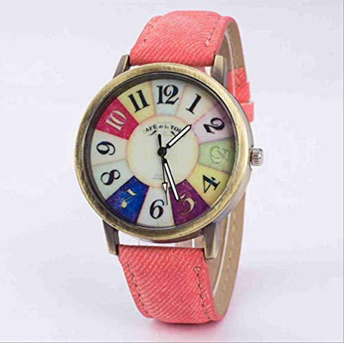 DSNGZ Reloj de Pulsera Nuevo Denim Canvas Student Watch Retro Watch Line Belt Cuarzo Reloj Pareja Reloj Rose Red