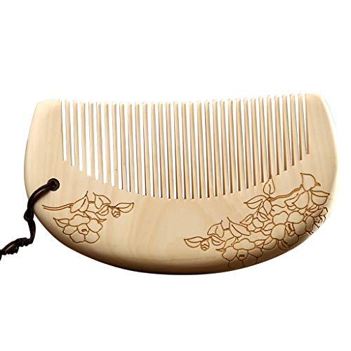 Ffshop Peigne de Massage en Bois Fait Main Naturel Antistatique Portable Mini Dames et Filles Peigne à Dents Fines