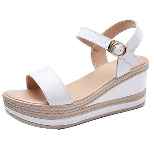JOYBI Women Summer High Heel Sandals Open Toe Single Band Buckle Strap Anti-Skid Wedge Platform Shoes White