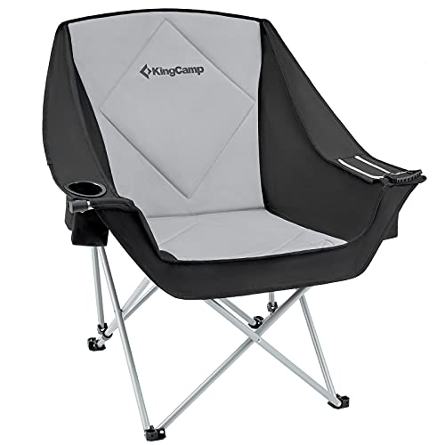 KingCamp Oversize Camping Folding Sofa Chair Padded Seat with Cooler Bag and Armrest Cup Holder, Black&Dark Gray (Black)