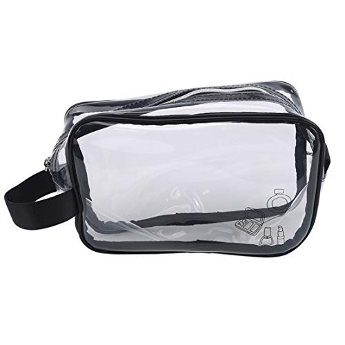 Botreelife Portable Transparent Cosmetic Bag Zipper Waterproof Multifunctional Travel Storage Bag Cosmetic Wash Bag with Handle, Style 2