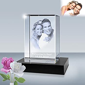 3D Personalized Photo Etched Crystal Cube Laser Engraved Picture in Glass Gift Set by Goodcount  2.5 x 2.5 x 4