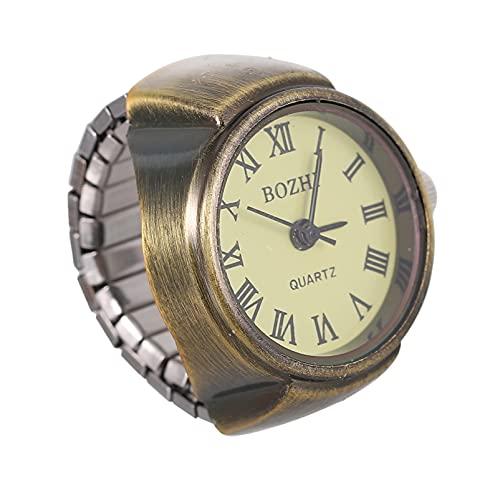 PartyKindom Mini reloj de cuarzo para mujeres y hombres, reloj de dedo retro, joyería única, unisex, anillo de dedo, adorno para Navidad, cumpleaños, graduación, regalo