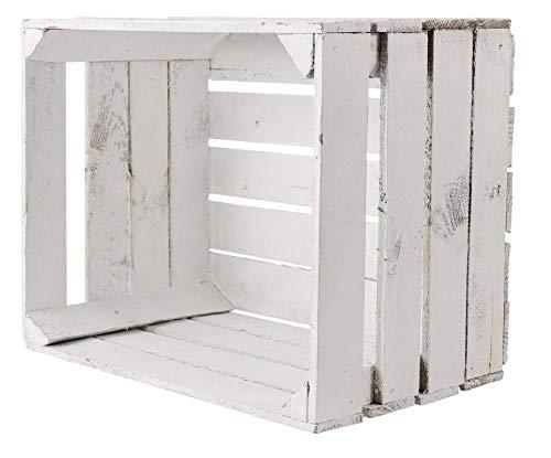 Obstkisten-online 1 Stück alte weiße/Shabby chic Holzkiste 50cm x 40cm x 30cm Obstkisten Kiste Balkom Dekoration Birnenkisten klassisch Holz Weinkiste Regal