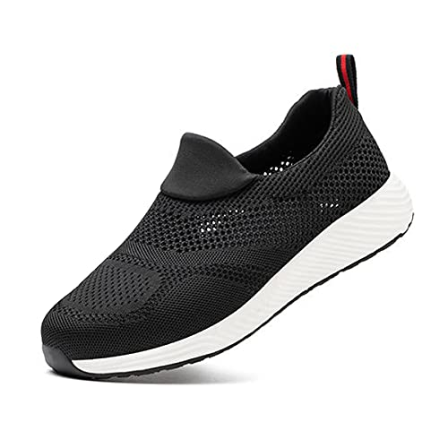Aingrirn Sicherheitsschuhe Herren Arbeitsschuhe Damen bequee Leicht sportlich Atmungsaktiv Schutzschuhe Stahlkappe Sportlich Schuhe (Color : Black Summer, Size : 42 EU)