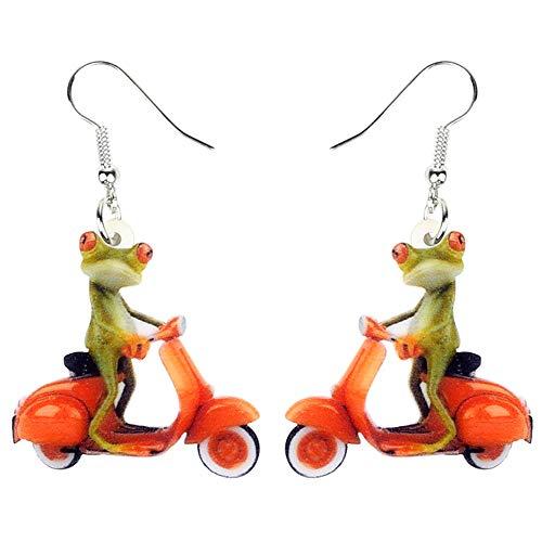 DFHTR Acryl Mode Elektromobil Frosch Ohrringe Drop Dangle Neuheit Tierschmuck Für Frauen Ohrringe Mädchen Kind Party Geschenke Zubehör