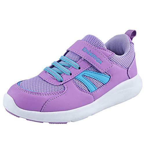 Knixmax - Zapatillas Deportivas para Niños y Niñas, Zapatillas de Running Sneakers Zapatos de Correr Aire Libre Deportes Casual Zapatillas Ligeras para Correr Transpirable, Púrpura EU 35