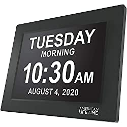 Newest Version, American Lifetime, 12 Inch Day Clock Extra Large Impaired Vision Digital Clock with Battery Backup and 5 Alarm Options, Black