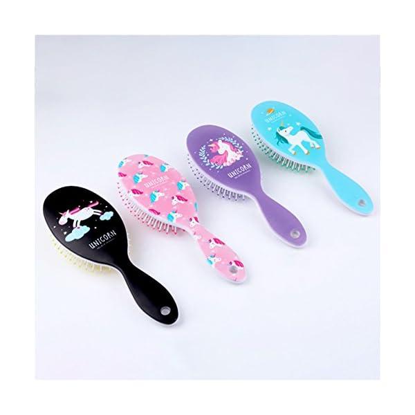 AhlsenL 4 Pack Detangler Hair Brushes, Anti-static Massage Comb Hair Brush for Women Girls Curly Straight Long or Short Hair (Unicorn) 4