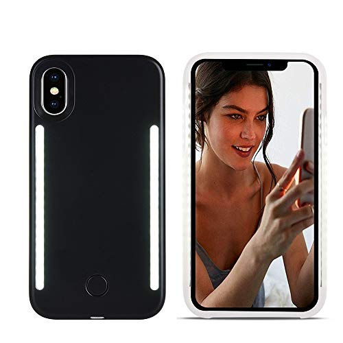 LNtech Selfie Light up Case for iPhone XR, Rechargeable LED Light Up Flash Lighting Selfie Case Dual Side Flashlight Illuminated Cover [Dimmable Switch] for iPhone XR(Black, iPhone XR)