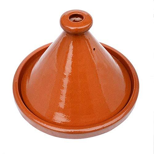 Marokkanische Tajine, glasiert, Kegelförmig, Ø 33 cm, zum Kochen für 5-6 Personen, Tontopf, Gartopf, Schmortopf, Handgefertigt in Marrakesch