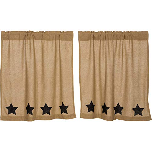 VHC Brands Burlap with Black Stencil Stars Tier Set of 2 L36xW36 Country Curtains, Tan