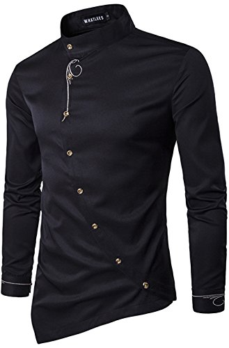 WHATLEES Herren urban Basic Barock Hemd mit Rose Blumen aufgesticktem Design B404-Black-L-new2