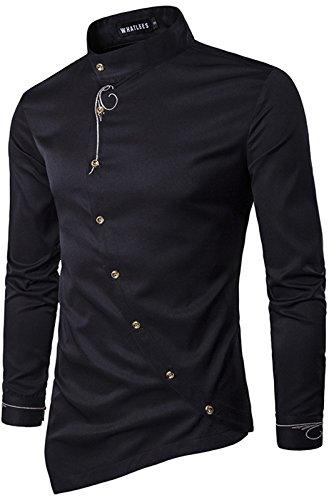 WHATLEES Herren lang Geschnittenes Hemd mit asymmetrisches und aufgesticktes Design, B404-black, M