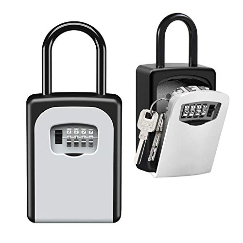 Mounting Kit Included Key Lock Box Wall Mounted Zinc Alloy Key Storage Box with Resettable Code for House Spare Keys TOWOKE Waterproof Combination Key Safe Box for Outside 5 Key Capacity