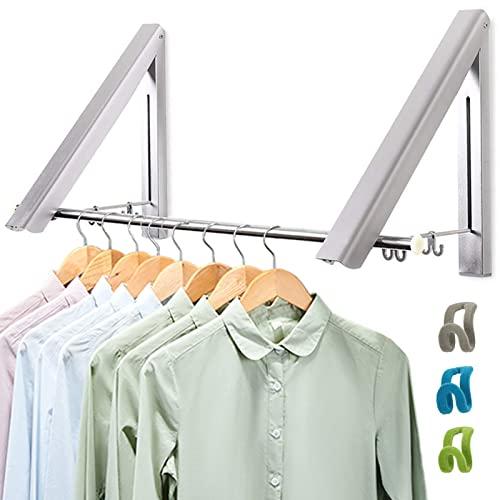 LIVEHITOP Wall Mounted Clothes Rack 2 Pcs, Folding Coat Hanger Dryer Hanging Rail Rod Wardrobe Hooks...