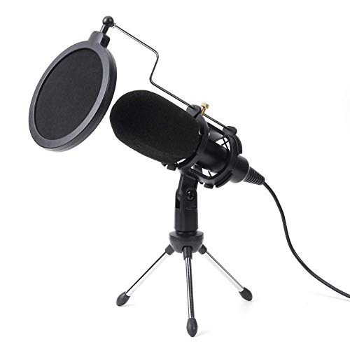 Kondensatormikrofon USB-Mikrofon-Set Studio Mic Mit Klappständer Stativ Filterschwamm for PS4 Spiel-Computer YouTube Gaming (Farbe: Schwarz) LMMS ( Color : Black )
