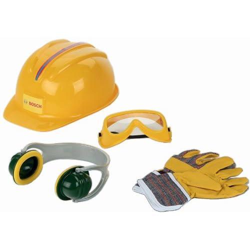 Theo Klein 8537 Set di accessori Bosch, Guanti e occhiali da lavoro, protezione per le orecchie e casco, tutto di qualità, Dimensioni: 30 cm x 38 cm 10 cm, Giocattolo per bambini a partire dai 3 anni