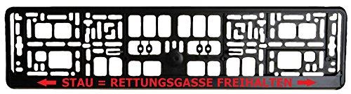 Schwarzer Kennzeichenhalter - Rettungsgasse Freihalten - Aufdruck in Rot - Kennzeichenverstärker - Kennzeichenträger - Kennzeichen - Halter