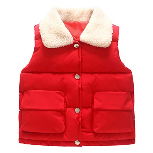 Toddler Girls Boys Woolen Neck Padded Jacket Vest Sleeveless Buttons Warm Down Coat 1-5 Years