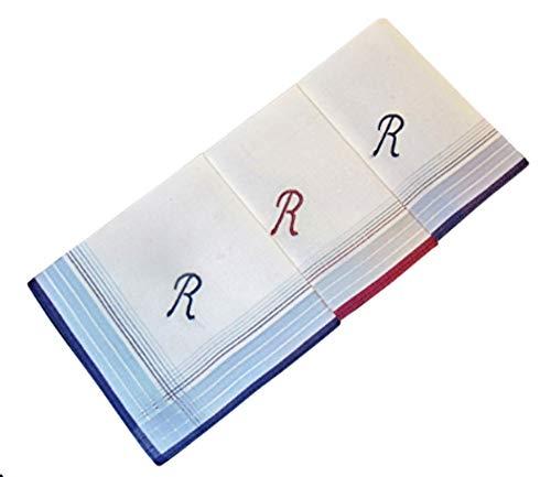 3 Stück Herren-Monogrammtaschentücher   Baumwolle mit farbiger Satinkante   Im Klarsichtkanton   In blau und wein-rot   Freie Monogrammwahl (R)
