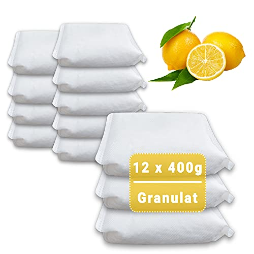 12 x 400 Gramm (4E) Luftentfeuchter Nachfüllpack Vliesbeutel XXL Box Granulat Nachfüllen Raumentfeuchter (Zitronen-Duft)