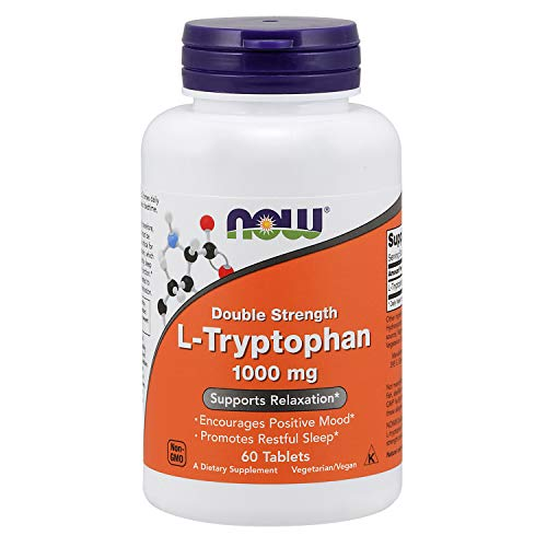 NOW Supplements, L-Tryptophan 1,000 mg, Double Strength, Encourages Positive Mood*, Supports Relaxation*, 60 Tablets