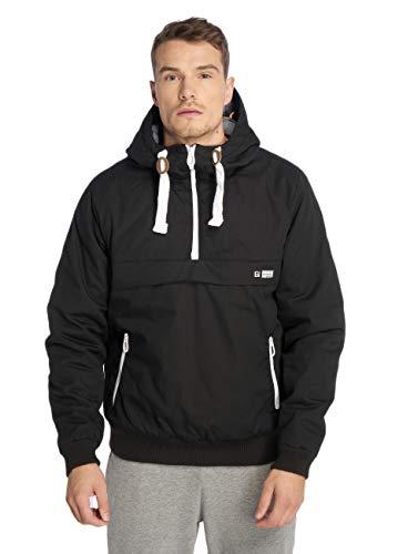 Eight2Nine Herren Wind-Breaker Jacke mit Kapuze Half-Zip Black M