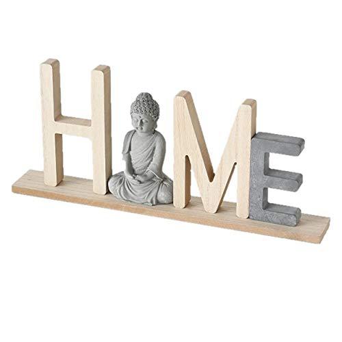 Unbekannt 1x Schriftzug Buddha Holz Länge 38 cm Farbmix, Tischdeko, Aufsteller, Wunschmodell:Oben