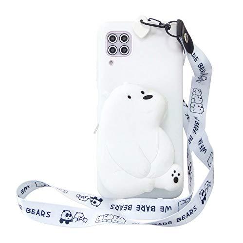Miagon Silikon Hülle für Huawei P40 Lite,3D Süß Brieftasche Lager Tasche Design mit Halskette Kordel Schnur Handykette Necklace Band,Weiß Bär