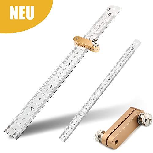 Fengzio Streichmaß Linealanschlag Anreisswerkzeug mit extra stabilem Lineal 30 cm Anschlaglineal Paralleles Lineal für die Holzbearbeitung