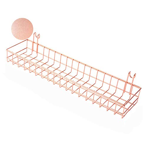 ANZOME Cesta de Oro Rosa para Paneles de Rejilla y Rejilla para Colgar Organizador de Alambre de Metal Estante de Almacenamiento Estante de decoración tamaño 15,6 x 3,9X 2 Inches