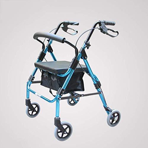 Y-L Ouderlijk Lichtgewicht Opvouwbare Rolstoel 4 ronde Rollator Voetganger Cross-Border Reisstoel met Remmen en Handtassen