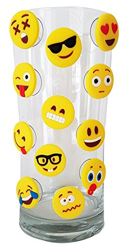 Emoji Charms with Suction 12 Pack, Perfect Markers for Everything from Wine Glass to Red Cups! Lifetime (Yellow)