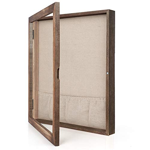 Emfogo 9x11 Shadow Frame Box Display for Pin with Linen Back Large Wooden Memory Box for Keepsakes Baby Wedding Photo Memorabilia Awards
